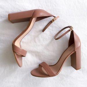 Tan block heels, BRAND NEW